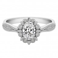 Snowdrop Oval Halo Pave Engagement Set with a Oval Lab-Created Diamond Center