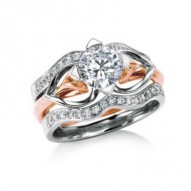 Eriskay Classic Set w/2 Pave Band and 6.5mm 1.0ct Round Moissanite  Center