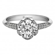 Bluebell Round Pave Engagement and  Set with 0.50ct  Round Center