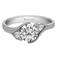 Poppy Pave Engagement with an 0.75ct G-VS2 Lab-created Round Center Stone