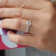 Alloa Emerald Cut Halo Engagement