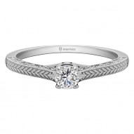 FALKIRK ROUND ENGAGEMENT WITH PEEK-A-BOO DIAMONDS AND WITH H-SI CENTER STONE