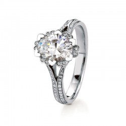Iris Oval Pave Engagement with 0.89ct F-VS2 Lab-created Oval Center