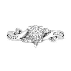 Tansy Pave Engagement Pear Shape Center