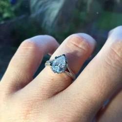Iris Pear Halo Pave Engagement