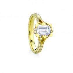 Iris Emerald Cut Halo Pave Engagement