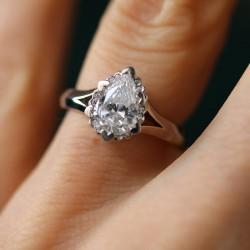 Iris Pear Halo Accent Diamond Engagement